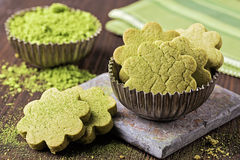 Matcha green tea cookies. On a wooden table Stock Image