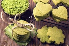 Matcha green tea cookies. On a wooden table Royalty Free Stock Photography