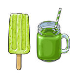 Matcha green tea desserts - smoothie and popsicle. Hand drawn cold matcha green tea desserts - stick ice cream bar, popsicle and fresh made smoothie, sketch stock illustration