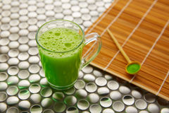 Matcha green tea from Japan on stainless steel Stock Photos