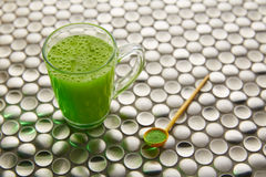 Matcha green tea from Japan on stainless steel Stock Photography