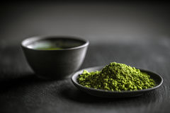 Matcha green tea. Japanese matcha green tea and tea powder Royalty Free Stock Images