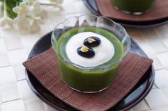 Matcha Green Tea Jelly. Japanese dessert for summertime royalty free stock images
