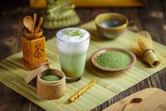 Matcha green tea latte. Japanese tea ceremony setting, Matcha green tea latte Royalty Free Stock Images