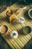 Matcha green tea latte stock photos