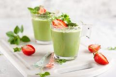 Matcha green tea panna cotta royalty free stock images