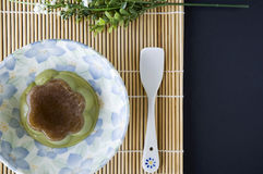 Pudding green tea serve on plate Royalty Free Stock Photo