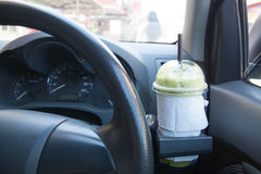 Matcha green tea. Smoothie in car stock photos