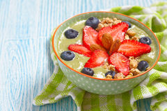 Matcha Green Tea Smoothie In A Bowl Royalty Free Stock Photography