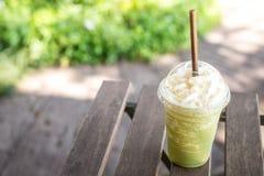 Matcha green tea smoothie whipped cream. Royalty Free Stock Photos