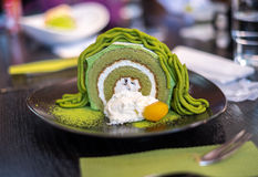 Matcha Green Tea Swiss Roll Cake Stock Image