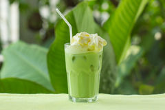 Matcha green Tea whipping cream topping. Cold Matcha green Tea fresh on the glass whipping cream topping Stock Photos