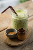 Matcha green tea. On wood table Stock Photos