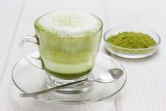 Matcha gren il latte del tè Fotografie Stock Libere da Diritti