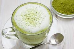 Matcha gren il latte del tè Immagini Stock