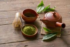 Matcha Groene Thee en Japans theestel Ceramische theepot en een stea Royalty-vrije Stock Foto's