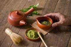 Matcha Groene Thee en Japans theestel Ceramische theepot en een stea Royalty-vrije Stock Afbeelding