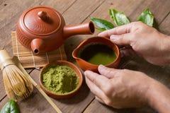 Matcha Groene Thee en Japans theestel Ceramische theepot en een stea Royalty-vrije Stock Foto