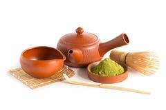 Matcha Groene Thee en Japans theestel Ceramische theepot en een stea Stock Foto