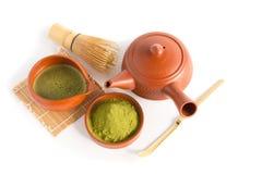 Matcha Groene Thee en Japans theestel Ceramische theepot en een stea Stock Foto's