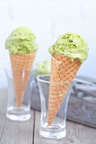 Matcha ice cream. Green matcha ice cream with almond nuts Stock Images