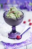Matcha ice cream with raspberries Royalty Free Stock Photos