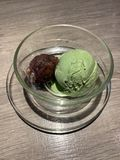 Matcha Ice-cream with red bean in blow stock images