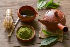 Matcha japończyka i zielonej herbaty herbaty set Ceramiczny teapot i stea obrazy royalty free