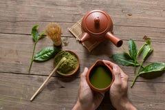 Matcha japończyka i zielonej herbaty herbaty set Ceramiczny teapot i stea obrazy stock