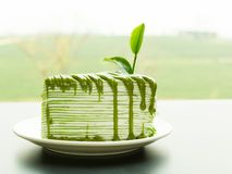 Matcha-Kreppkuchen Stockfotografie