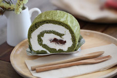 Matcha Kuchen des grünen Tees Lizenzfreies Stockfoto
