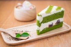 Matcha Kuchen des grünen Tees Lizenzfreies Stockbild