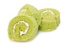 Matcha-Kuchen Rolls. Stockbilder