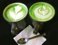 Matcha latte,Green tea latte,Creamy ,hot drink. Matcha,healthy Royalty Free Stock Images