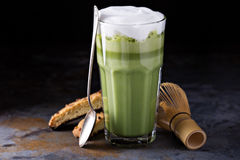 Matcha latte in tall glasses Royalty Free Stock Photography