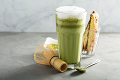 Matcha latte in tall glasses Royalty Free Stock Images