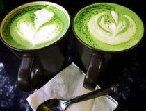 Matcha latte, zielonej herbaty latte, Śmietankowy, gorący napój, Fotografia Stock