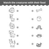 Matcha leken för barn, djur och favorit- mat royaltyfri illustrationer