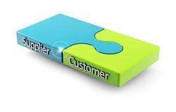 Matcha mellan kunden och leverantören Arkivfoton