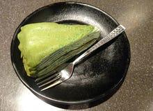 Matcha Mille krepy tort zdjęcie royalty free