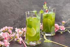 Matcha Mint Iced Tea Stock Images