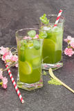 Matcha Mint Iced Tea Royalty Free Stock Photos