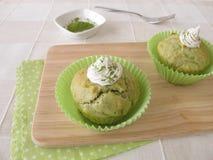 Matcha muffin royaltyfria foton