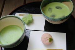 Matcha och Wagashi Japan Fotografering för Bildbyråer