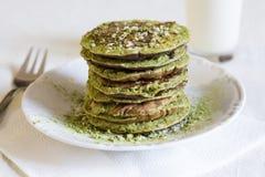 Matcha pancakes. Delicious sugarfree matcha pancakes with banana Royalty Free Stock Image