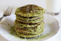 Matcha pancakes. Stock Photos