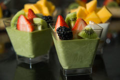 Matcha Panna Cotta Stock Photo