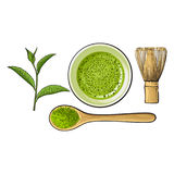 Matcha powder bowl, wooden spoon and whisk, green tea leaf Stock Images