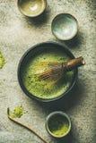 Matcha powder, Chashaku spoon, Chasen bamboo whisk, Chawan bowl, cups