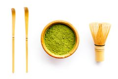 Free Matcha Powder In Bowl Near Specail Stick And Whisk On White Background Top View Stock Image - 133725071
